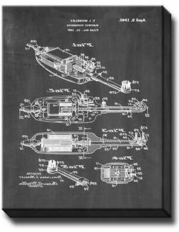 Electric Toothbrush Patent Canvas - Chalkboard