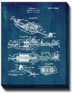 Electric Toothbrush Patent Canvas - Midnight Blue