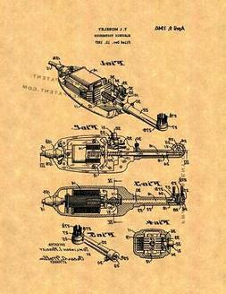 Electric Toothbrush Patent Print Ancient Gold