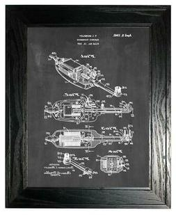 Electric Toothbrush Patent Print Chalkboard in a Black Pine