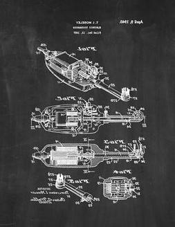 Electric Toothbrush Patent Print Chalkboard